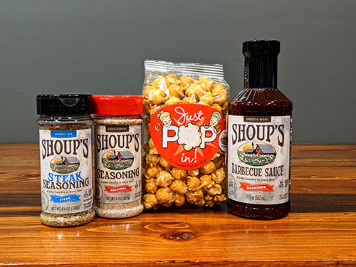 Shoup's Sauce and Seasoning Trio with Popcorn